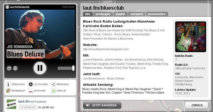 laut fm Blues Rock Club Radio Köln Karlsruhe Gitarrenunterricht